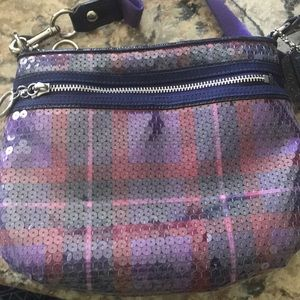 Coach purse, circa 2011. Purples and pinks - plaid